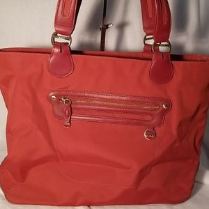 TUMI large maroon canvas and leather tote